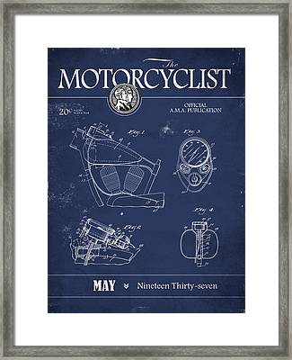 Motorcycle Magazine Harley Motorcycle Design 1937 Framed Print