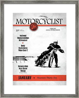 Motorcycle Magazine National Championship Milwaukee 1935 Framed Print