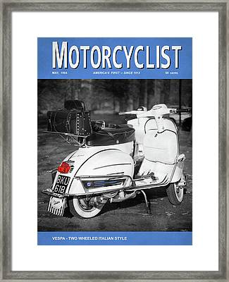 Motorcycle Magazine Vespa Italian Style 1964 Framed Print