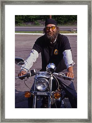 Motorcycle Minister Framed Print by Randy Muir