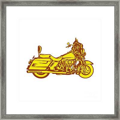 Motorcycle Motorbike Woodcut Framed Print
