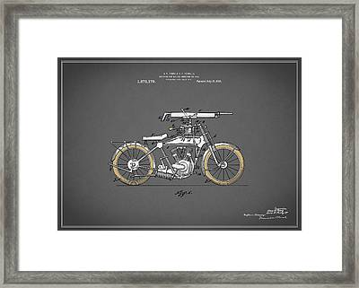 Motorcycle Patent 1918 Framed Print by Mark Rogan