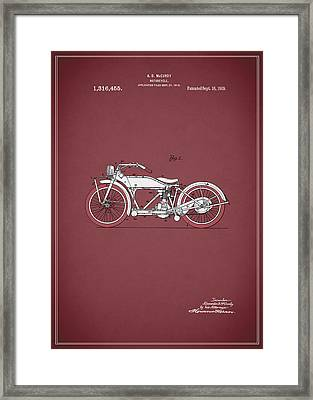 Motorcycle Patent 1919 Framed Print by Mark Rogan