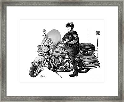 Motorcycle Police Officer Framed Print