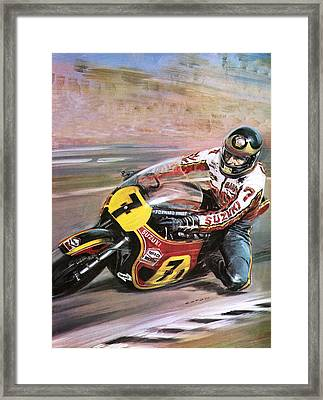 Motorcycle Racing Framed Print by Graham Coton