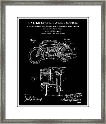 Motorcycle Sidecar Patent 1912 - Black Framed Print by Finlay McNevin