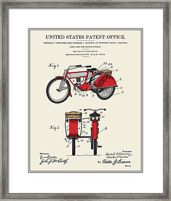 Motorcycle Sidecar Patent 1912 Framed Print by Finlay McNevin