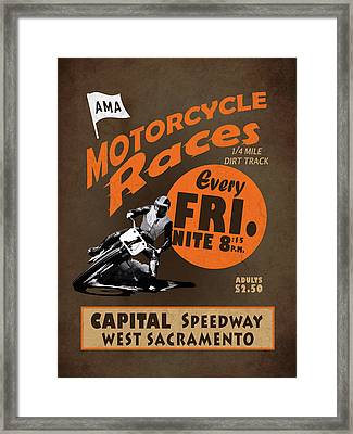 Motorcycle Speedway Races Framed Print