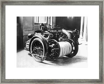 Motorcyle Fire Engine Framed Print by Underwood Archives