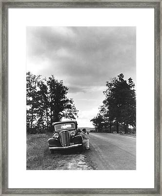 Motorist Parked By Roadside Framed Print