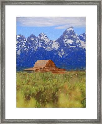 Moulton Barn Color Sketch Framed Print