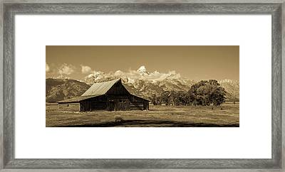 Moulton Barn Toned Framed Print by TL Mair
