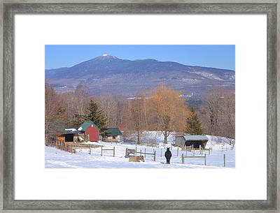 Mount Abraham And Winter Farm Green Mountains Framed Print by John Burk