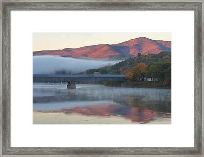 Mount Ascutney And Windsor Cornish Bridge Sunrise Fog Framed Print