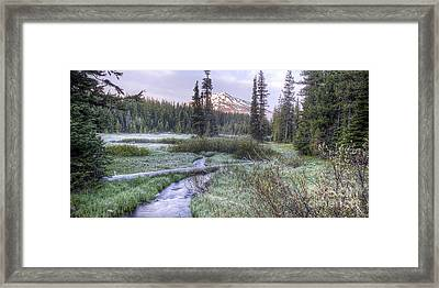 Mount Bachelor From Soda Creek At Dawn Framed Print by Twenty Two North Photography