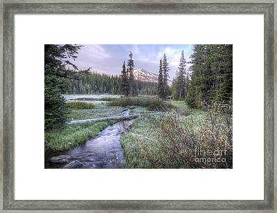 Mount Bachelor From Soda Creek At Sunrise Framed Print by Twenty Two North Photography