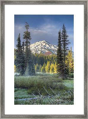 Mount Bachelor From Todd Lake Framed Print by Twenty Two North Photography