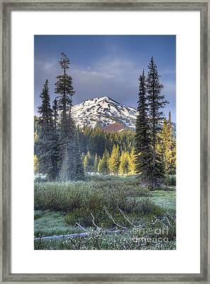 Mount Bachelor Over Meadow Framed Print by Twenty Two North Photography