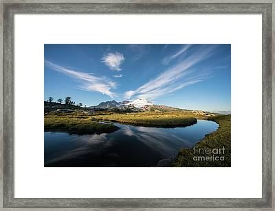 Mount Baker Clouds Crosshairs Framed Print by Mike Reid