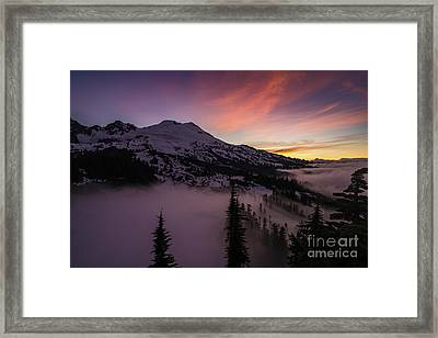 Mount Baker Sunrise Peaceful Morning Framed Print by Mike Reid