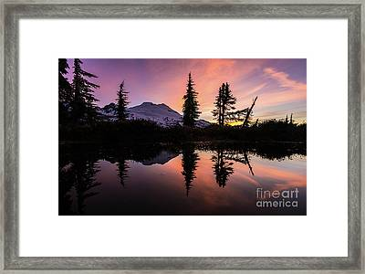 Mount Baker Sunrise Reflection Framed Print by Mike Reid