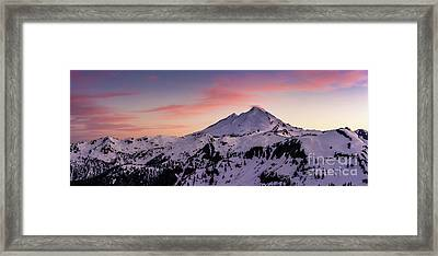 Mount Baker Sunset Panorama Framed Print by Mike Reid