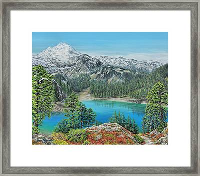 Framed Print featuring the painting Mount Baker Wilderness by Jane Girardot