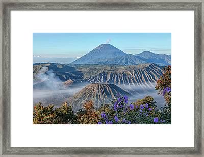 Mount Bromo In Clouds - Java Framed Print