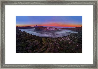 Framed Print featuring the photograph Mount Bromo Misty Sunrise by Pradeep Raja Prints