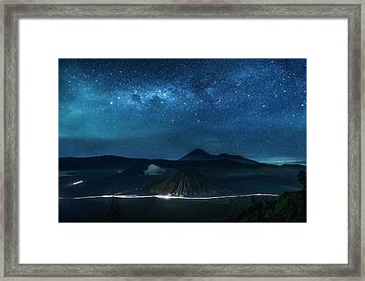 Framed Print featuring the photograph Mount Bromo Resting Under Million Stars by Pradeep Raja Prints