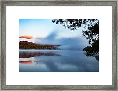 Framed Print featuring the photograph Mount Chocorua Peeks Above The Fog by Jeff Folger