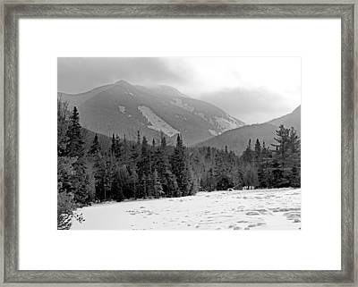 Mount Colden During Winter From Marcy Dam In The Adirondack Mountains Framed Print by Brendan Reals
