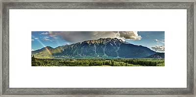 Framed Print featuring the photograph Mount Currie In The Enchanting Pemberton Valley With Double Rainbow by Pierre Leclerc Photography