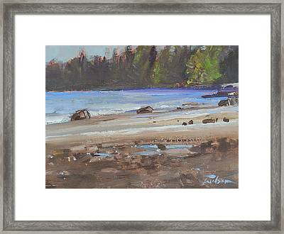Mount Doug Beach Contre Jour Framed Print by Ron Wilson