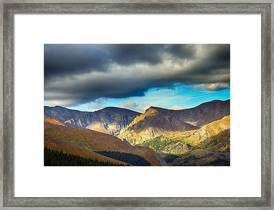 Mount Evans Foreboding Skies Framed Print by Angelina Vick