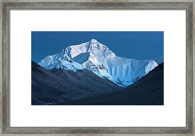 Mount Everest At Blue Hour, Rongbuk, 2007 Framed Print by Hitendra SINKAR