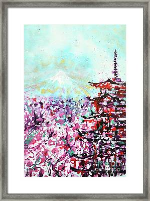 Framed Print featuring the painting Mount Fuji And The Chureito Pagoda In Spring by Zaira Dzhaubaeva