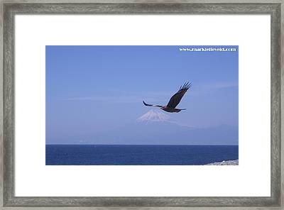 Mount Fuji With Eagle Framed Print by Mark Lelieveld