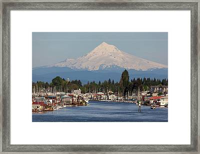 Mount Hood And Columbia River House Boats Framed Print by David Gn