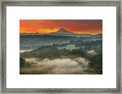 Mount Hood And Sandy River Valley Sunrise Framed Print by David Gn