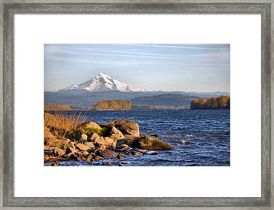Mount Hood And The Columbia River Framed Print by Jim Walls PhotoArtist