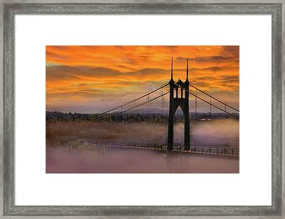 Mount Hood By St Johns Bridge During Sunrise Framed Print