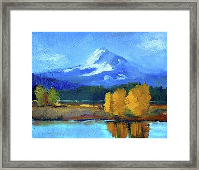 Framed Print featuring the painting Mount Hood by Nancy Merkle