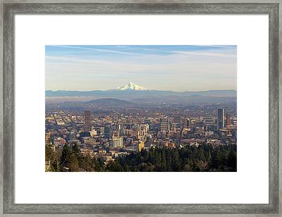 Mount Hood Over City Of Portland Oregon Framed Print by David Gn