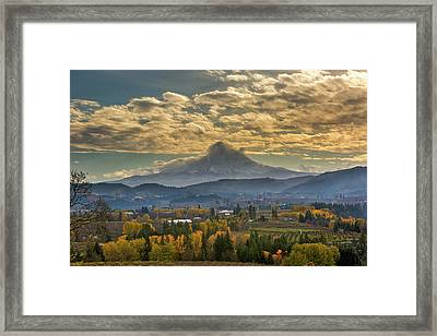 Mount Hood Over Farmland In Hood River In Fall Framed Print