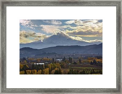 Mount Hood Over Hood River Valley In Fall Framed Print