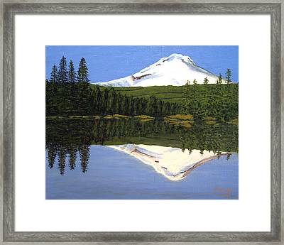 Framed Print featuring the painting Mount Hood-trillium Lake by Frederic Kohli