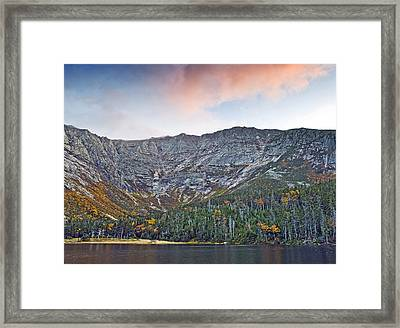 Mount Katahdin From Chimney Pond In Baxter State Park Maine Framed Print