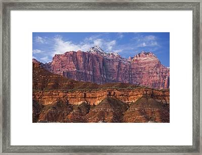 Mount Kinesava In Zion National Park Framed Print by Utah Images