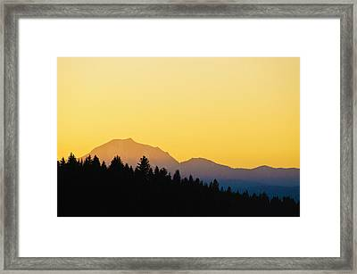 Mount Lassen At Sunset Framed Print